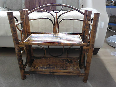 Useful Victorian Bamboo Two Tier Folding Bookcase/Shelf /Wotnot