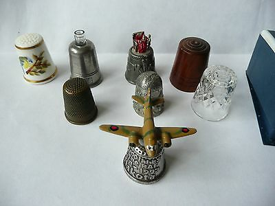 8 unusual Thimbles Stanhope,treen,china,glass,pewter,brass,