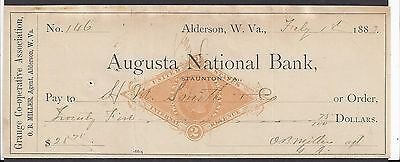 1883 Alderson West Virginia Bank Check RN-G1 Revenue