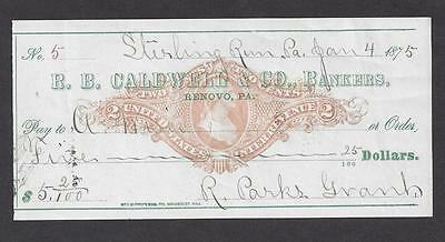 1875 Stirling Run Pennsylvania Bank Check RN-J4
