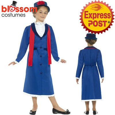 CK1034 Girls Victorian Nanny Mary Poppins Book Week Dress Up Edwardian Costume