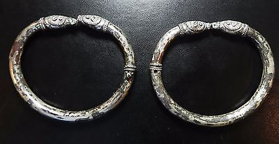 Zurqieh -Holy Land. Iron Age , Pair Of Silver Bracelets. 1000 B.c. Exquisite !!!