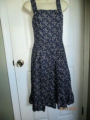 Vintage 70's Prairie Country BOHO Ruffle Navy White Floral DRESS XS
