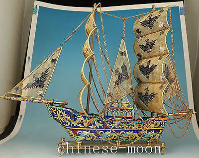 Big Chinese Brass Cloisonne Sailing Figure Statue Collect Home Decor Ornament