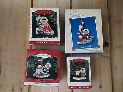 4 Hallmark Frosty Friends Ornament: #15, 16, 20 & 24. Skating,Snowmobiling +more