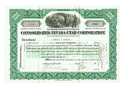 1917 Consolidated Nevada-Utah Corporation Stock Certificate