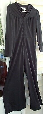 VINTAGE 70's SEARS FASHIONS Womens Black Polyester Jumpsuit Union Made Playsuit