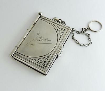SILVER AIDE MEMOIRE PHOTO FRAME c1910 CONTINENTAL ARTS & CRAFTS Esther