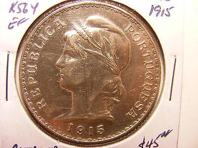 Portugal Silver 1 Escudo, 1915, XF Details - old cleaning