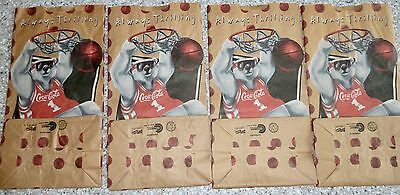 "Coca Cola ""Always Thrilling"" Paper Lunch Bags, Polar Bear Shooting Hoops"