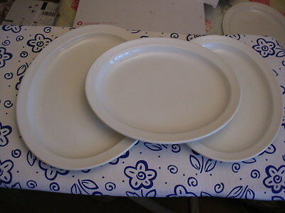 "3 Midwinter White Oval Platters England 2@11 3/4"" & 1@13 5/8"""