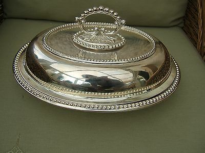 Antique Silver Plated Oval Entree Dish  With Lid & Divider ....recently Replated