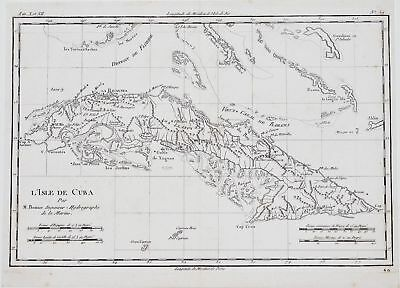 1790 Original Map of Cuba by Rigobert Bonne