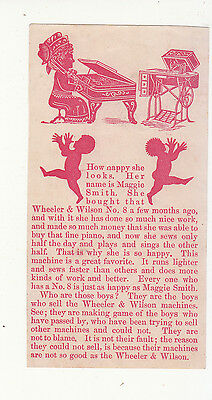 Wheeler & Wilson Sewing Machine Silhouettes Piano  Vict Card c 1880s