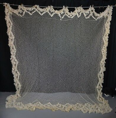 canopy lace fringe cotton handmade white 4 post antique replica 18th 19th c 1800