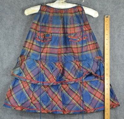 half apron Civil War Era fancy taffeta small  plaid handmade antique original