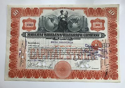 1913 MARCONI WIRELESS TELEGRAPH COMPANY Stock Certificate GRAPHICS! REDUCED