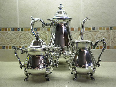 International Silver Co. Silver-Plated Chippendale 4 Piece Coffee Service Set