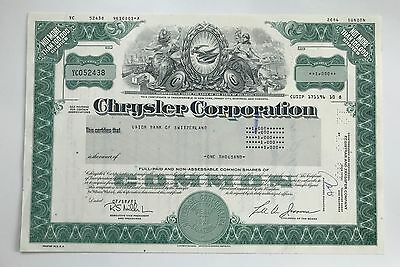 1983 Chrysler Corporation Stock Certificate Lee Iacocc Signed 1000 Shares