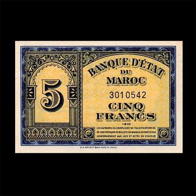 1943 Morocco French France, 5 Francs - » Best Note «