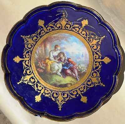 Early Sevres Porcelain 1768 P Blue Lapis Lobed Stand-Comport Tazza Plate Restore