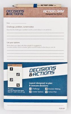 Decisions & Actions Pad Size 5x8 Layout Designed to Plan & Execute Decisions Pla