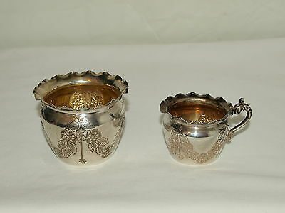 SMALL CREAM JUG & SUGAR BOWL ; GILT INTERIOR ; BIRMINGHAM 1904 ; Berries & Cream