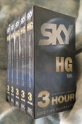 Brand New & Sealed 5 X Sky HG VHS 3 Hour Blank Video Cassette Tapes