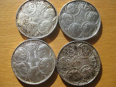Lot of 4 Greek coins of 30 drachmas 1963 (5 Kings),SILVER 83.5%, XF to AU.