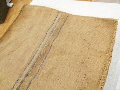 Vtg Antique INDIGO BLUE STRIPE Burlap JUTE BAG Fabric FEED SACK GRAIN BAG 24X44