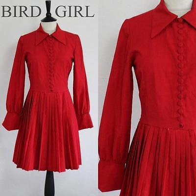 Big Collar 1960S Vintage Red Button Pleated Retro Twiggy Mini Dress 8-10 S