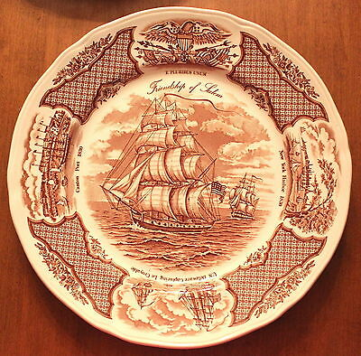Set of 4 Dinner Plates Alfred Meakin Fair Winds in Brown Historical Scenes S2
