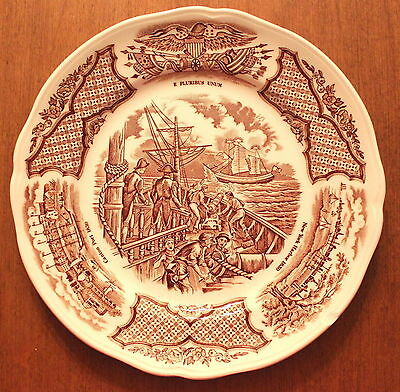 Set of 4 Bread Plates Alfred Meakin Fair Winds in Brown Historical Scenes S3