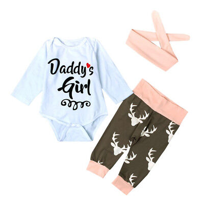Lovely Kid Newborn Baby Girl Romper Bodysuit+Pants Hairband Clothes Outfits Set
