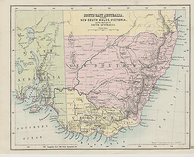 c1890 Two Antique Maps - NEW SOUTH WALES & SOUTH-EAST AUSTRALIA -