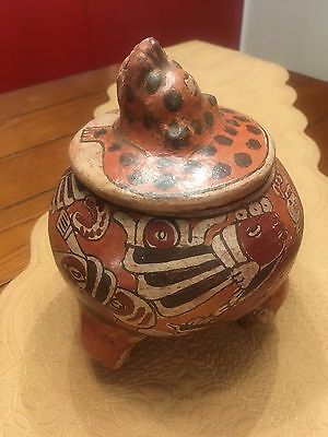 Pre-Columbian Ancient MAYAN? Polychrome painted Pottery Vessel
