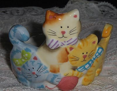Vtg Kittens Playing With Yarn Figurine Ceramic Jar Votive 3 Cats Candle Holder