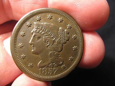 1857 Braided Hair Large Cent **x.f.+** N-1  **free Shipping**!!