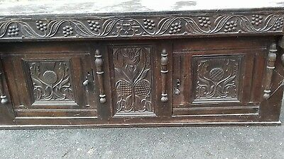 Rare Handmade Antique 17Thc Solid Oak Scottish Cupboard With Makers Name