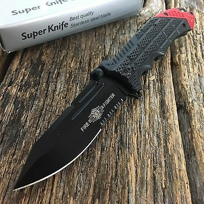 Fire Fighter Spring Assisted Open Pocket Knife Military Style Combat Bowie -TH
