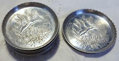 12 Vtg Metal Coasters - Flying Ducks w Cattails - 3.25 Inch Diameter