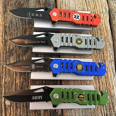 4PC Set Military Assorted Tactical Spring Assisted Open Pocket Knives new -S