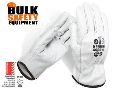 Certified Cowhide Leather Rigger Gloves - 6 Pair Buy LGE / X LGE OR 2 XLGE