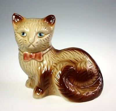 Kitty Cat Kitten w Blue Eyes in Bowtie Hand Painted Ceramic Figurine Pottery