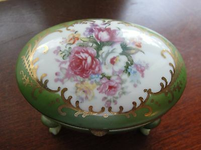 Antique Hand Painted Floral Oval Footed Hinged Trinket Porcelain Dresser Box