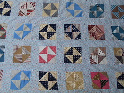 Antique Quilt Top Early Calico Cotton Fabric Prints repurpose vtg