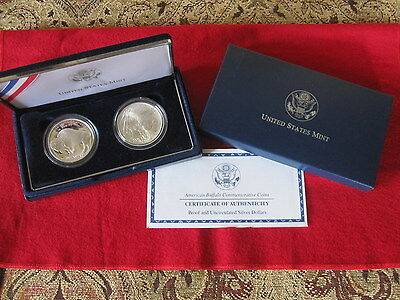Untied States Mint 2 Pc American Buffalo Commemorative Dollar Set Proof & Unc