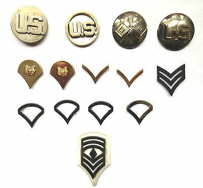 Vintage Lot Of 14+ Original Military Rank Insignia Collar And Lapel Pins
