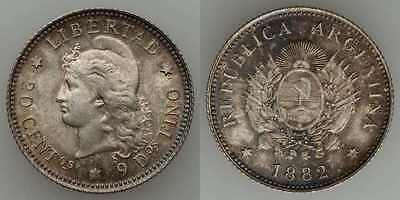 Beautiful 1882 Silver Coin Argentina 20 Centavos Capped Liberty Head Toned AU+