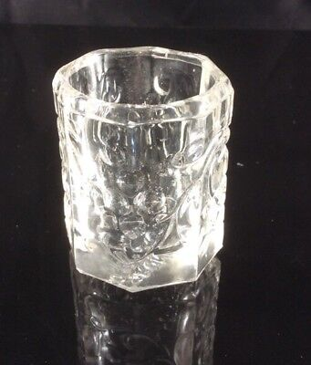 VINTAGE CORONET PRESSED GLASS TOOTHPICK HOLDER Grapes And Leaves Pattern